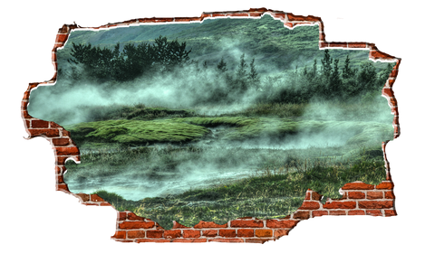 Zapwalls Decals Morning Mist Hillside Breaking wall Nature
