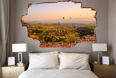 Zapwalls Decals Mountain Hot Air Balloon Sky Breaking wall Nature
