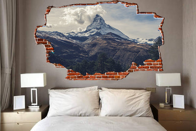 Zapwalls Decals Mountain Peak Cloudy Sky Breaking wall Nature