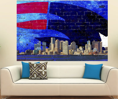 Zapwalls Decals New England Boston Skyline