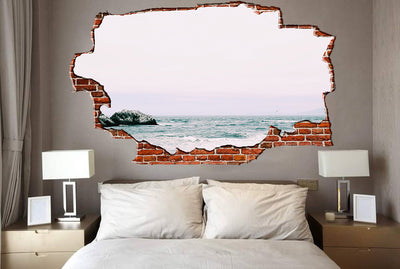 Zapwalls Decals Ocean Rock Grey Sky Breaking wall Nature