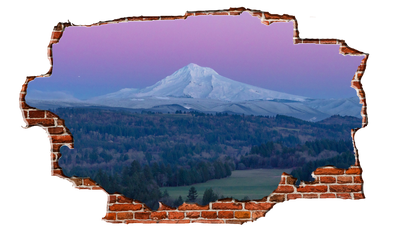 Zapwalls Decals Pink Sky Mountain Peak Breaking wall Nature