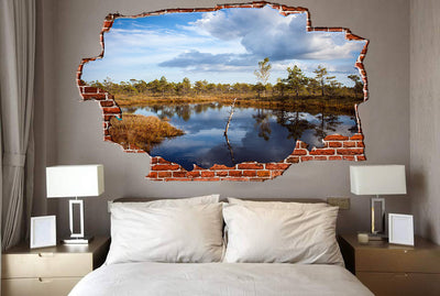 Zapwalls Decals Pound Reflection Cloudy Forest Breaking wall Nature