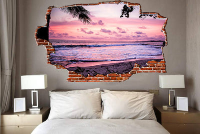 Zapwalls Decals Purple Costal Waves Crashing Breaking wall Nature