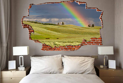 Zapwalls Decals Rainbow Countryside Hill Breaking wall Nature