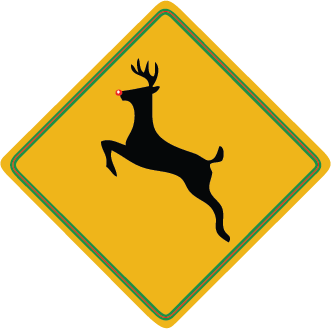 Zapwalls Decals Reindeer Crossing Sign Wall Graphic