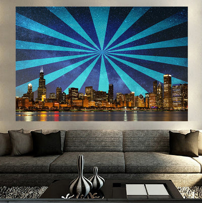 Zapwalls Decals Retro Blue Chicago Skyline Wall Graphic