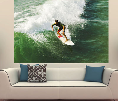Zapwalls Decals Riding Wave Green Surfer