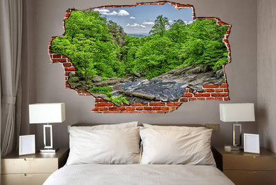Zapwalls Decals River Stream Forest Hills Breaking wall Nature