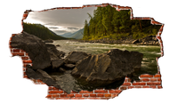 Zapwalls Decals River Stream in Forest Mountains Breaking wall Nature
