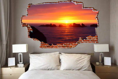 Zapwalls Decals Rocks at Sunset Oceanside Breaking wall Nature