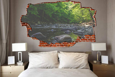 Zapwalls Decals Rocky Stream Forest View Breaking wall Nature