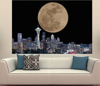 Zapwalls Decals Seattle Skyline Full Moon
