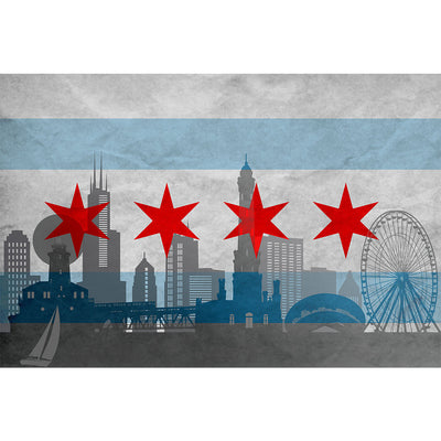Zapwalls Decals Silhouette Chicago Flag Wall Graphic