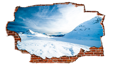 Zapwalls Decals Snowy Mountain Day Sky Breaking wall Nature