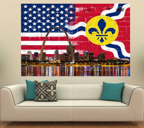 Zapwalls Decals St. Louis Flag & American Skyline