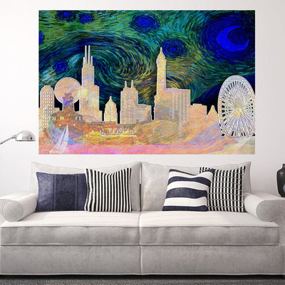 Zapwalls Decals Starry Chicago Abstract Silhouette Wall Graphic