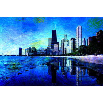 Zapwalls Decals Starry Chicago Abstract Watercolor Wall Graphic