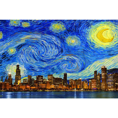 Zapwalls Decals Starry Night Chicago Skyline Wall Graphic