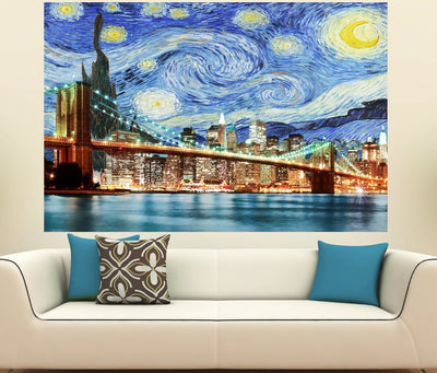 Zapwalls Decals Starry Night New York City Brooklyn Bridge