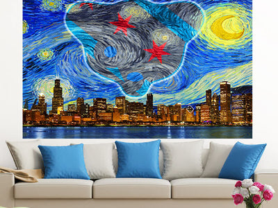 Zapwalls Decals Starry Waveland Chicago Skyline Wall Graphic