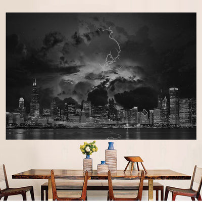 Zapwalls Decals Stormy Black & White Chicago Wall Graphic