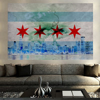 Zapwalls Decals Stormy Chicago Flag Abstract Wall Graphic
