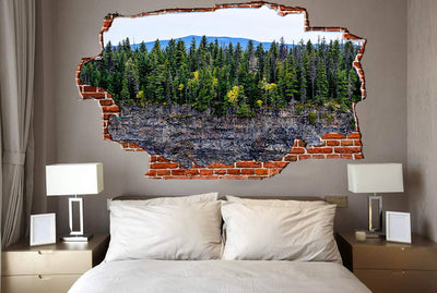 Zapwalls Decals Trees Cliffside Breaking wall Nature