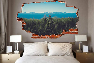 Zapwalls Decals Trees Over Looking The Lake Breaking wall Nature