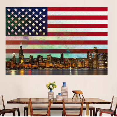 Zapwalls Decals USA Abstract Glow Chicago Wall Graphic