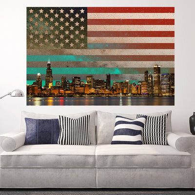 Zapwalls Decals USA Flag Chicago Skyline Abstract Wall Graphic