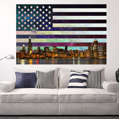Zapwalls Decals USA Flag Chicago Skyline Retro Wall Graphic