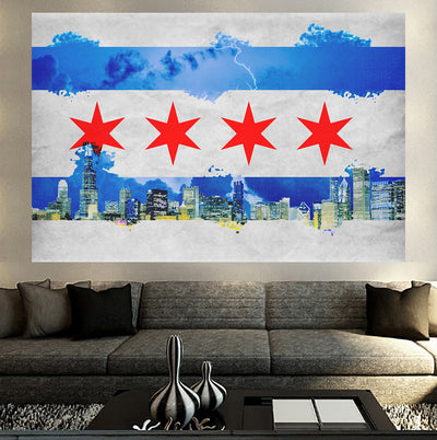 Zapwalls Decals Vintage Chicago Flag Watercolor Wall Graphic