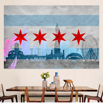 Zapwalls Decals Vintage Silhoute Chicago Flag Wall Graphic