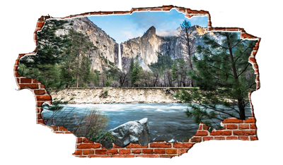 Zapwalls Decals Water Cliffside Yellowstone Forest Breaking wall Nature