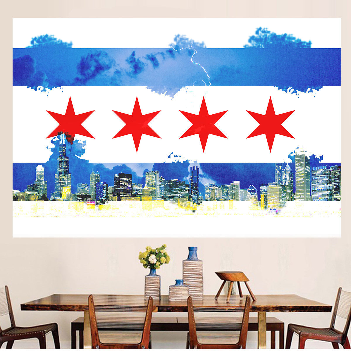 Watercolor Chicago Flag Skyline Wall Graphic Zapwalls