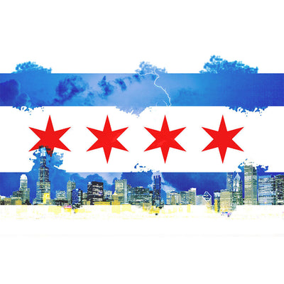 Zapwalls Decals Watercolor Chicago Flag Skyline Wall Graphic