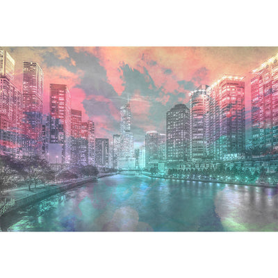 Zapwalls Decals Watercolor Chicago River View Wall Graphic