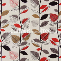 Autumn Leaves Red Berry Curtains