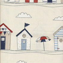 Beach Huts Blue Fabric by the Metre