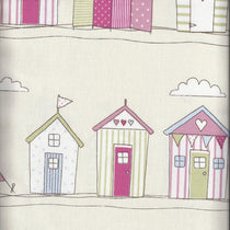 Beach Huts Pink Fabric by the Metre