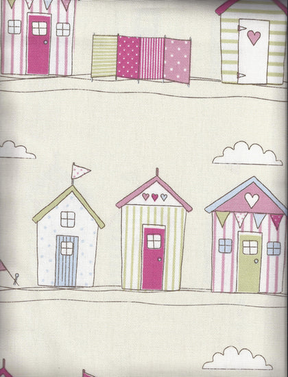Beach Huts Pink Curtains