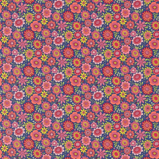 Bloomin Lovely Sherbet Rhubarb Denim 120447 Curtains