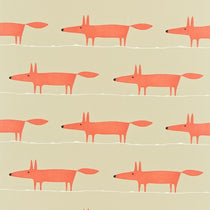 Mr Fox Neutral and Paprika 120071 Fabric by the Metre
