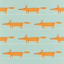 Mr Fox Sky Tangerine and Chalk 120072 Curtains