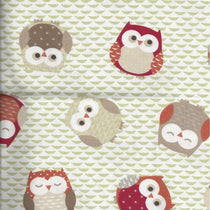 Owls Orange Red Fabric by the Metre