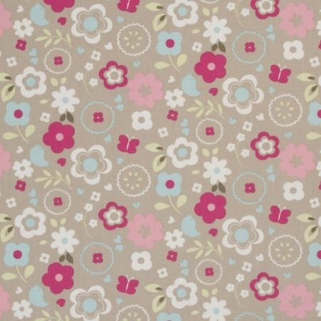 Retro Floral Taupe Curtains
