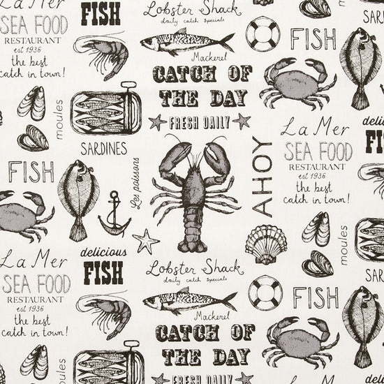 Seafood Black Curtains
