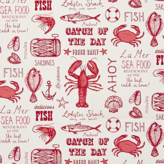 Seafood Red Curtains