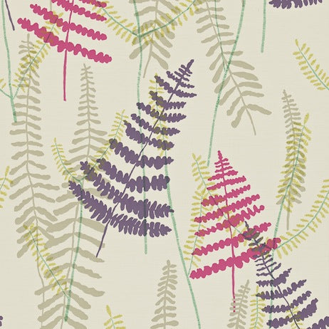 Athyrium Plum Fushcia Linen and Lime Wallpapers